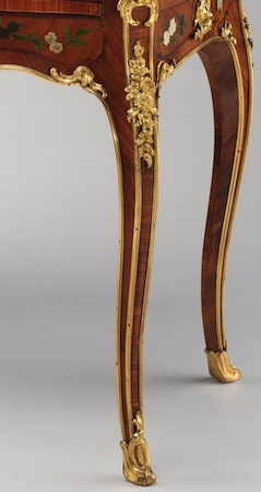 Cabriole legs (detail), Bernard II van Risenburgh, Writing table (Table à écrire), c. 1755, oak veneered with tulipwood, kingwood, amaranth, mahogany, ebony, mother-of-pearl, stained horn; gilt-bronze mounts and modern velvet, 78.1 x 96.5 x 57.5 cm (The Metropolitan Museum of Art)