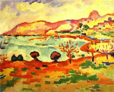 Georges Braque, Landscape of l'Estaque, 1907, oil on canvas, 37 x 46 cm. (Musée d'Art moderne, Troyes, France)