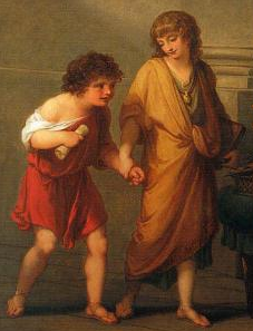 "Tiberius and Gaius Gracchus (detail), Angelica Kauffmann, Cornelia, Mother of the Gracchi, Pointing to her Children as Her Treasures, c. 1785, oil on canvas, 40 x 50"" (Virginia Museum of Fine Arts)"