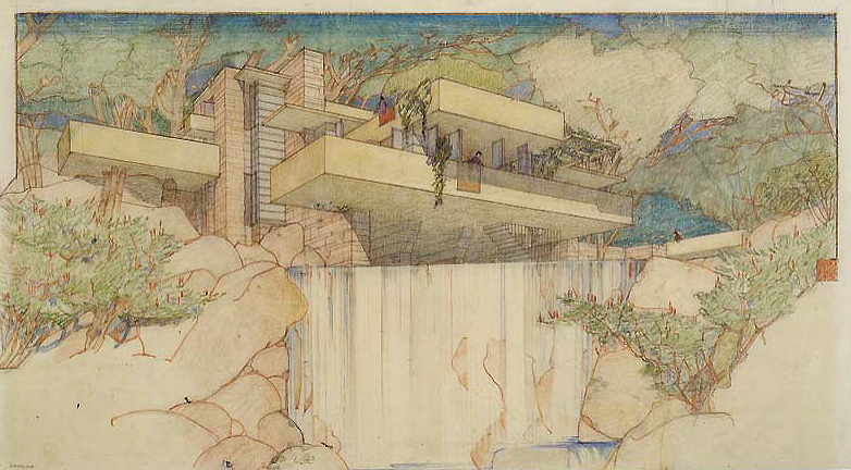 "Frank Lloyd Wright, Fallingwater (Edgar J. Kaufmann House), Mill Run, Pennsylvania, 1935, Color pencil on tracing paper, 15-3/8 x 27-1/4"" © The Frank Lloyd Wright Foundation"