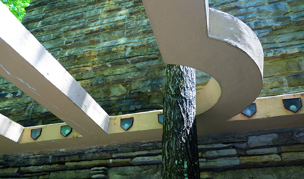 Frank Lloyd Wright, Fallingwater, detail with tree (Edgar J. Kaufmann House), 1937 (photo: Daderot, CC0 1.0)