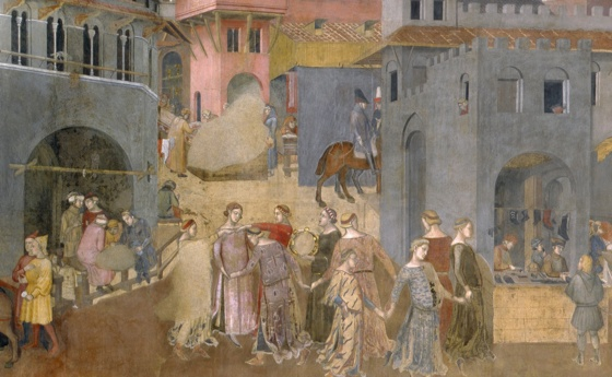 Ambrogio Lorenzetti, detail from Allegory of Good Government, Effects of Good Government in the City and the Country, c. 1337-40, fresco, Sala della Pace (Hall of Peace) also known as the Sala dei Nove (the Hall of the Nine), 7.7 x 14.4 meters (room), Palazzo Pubblico, Siena