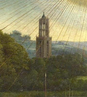 Distant landscape (detail), Adoration of the Mystic Lamb, bottom center panel, Jan van Eyck, Ghent Altarpiece, completed 1432, oil on wood, 11 feet 5 inches x 15 feet 1 inch (open), Saint Bavo Cathedral, Ghent, Belgium (photo: Closer to Van Eyck)
