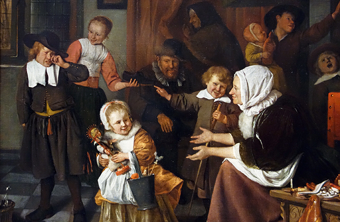 Family (detail), Jan Havicksz Steen, The Feast of St Nicholas, 1665-68, oil on canvas, 82 × 70.5 cm (Rijksmuseum)