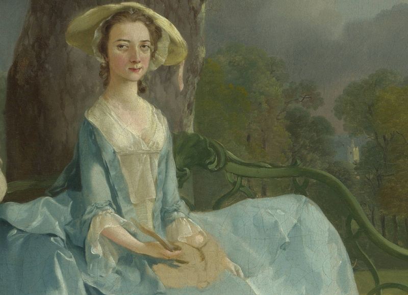 Landscape (detail), Thomas Gainsborough, Mr. and Mrs. Andrews, c. 1750, oil on canvas, 69.8 x 119.4 cm (The National Gallery, London)