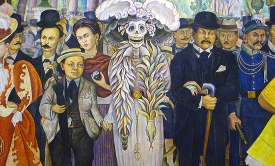 Diego Rivera, detail with the artist as a young man (left), the paintier Frida Kahlo (behind him), La Catrina (the Skeleton) and the printmaker, José Guadalupe Posada (right), Dream of a Sunday Afternoon in Alameda Central Park (Sueño de una tarde dominical en la Alameda Central), 1947, 4.8 x 15 m (Museo Mural Diego Rivera, originally, Hotel del Prado, Mexico City)
