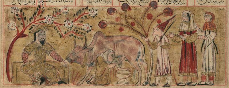 """Detail, """"Bahram Gur in a Peasant's House,"""" Shahnama, 1341 C.E., ink and pigments on light beige paper, 14 3/8 x 12"""", Injuid Dynasty, Iran (Walters Museum of Art, Baltimore)"""