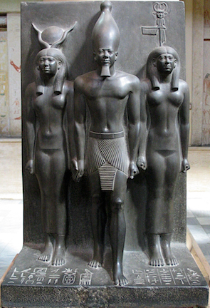 Menkaure flanked by Hathor (left) and nome goddess (Egyptian Museum, Cairo)