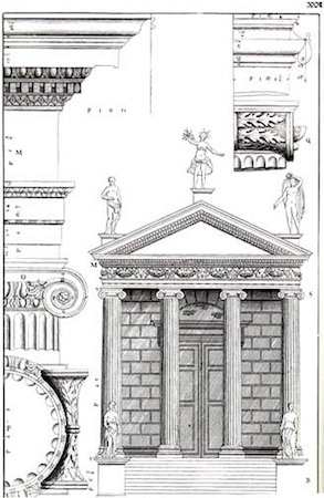 Andrea Palladio, Temple of Fortuna Virilis, engraving from The Four Books of Architecture, London, Isaac Ware, 1738
