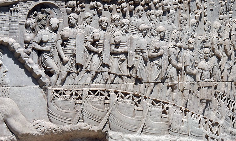 Pontoon bridge with Roman soldiers (detail), Column of Trajan, Carrara marble, completed 113 C.E., Rome (photo: ElissaSCA © All rights reserved, by permission)