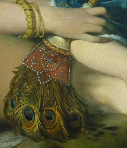Peacock fan (detail), Jean-Auguste-Dominique Ingres, La Grande Odalisque, 1814, oil on canvas, 91 x 162 cm (Louvre, Paris)