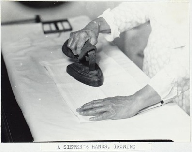 Samuel Kravitt, A Sister's Hands Ironing, c. 1931-36, photo, Hancock Shaker Village, Massachusetts (Library of Congress)