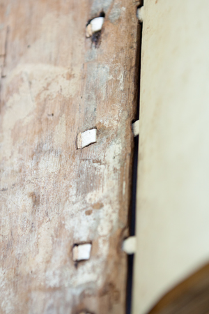 Wooden board of a late-medieval binding, Leiden, University Library, BPL MS 114 (photo: Giulio Menna)