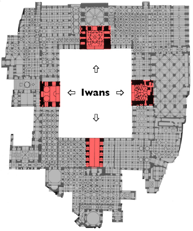 Plan of the Great Mosque of Isfahan, Iran, showing iwans opening onto the sahn (court)