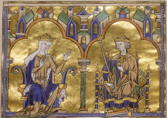 Blanche of Castile and King Louis IX of France; Author Dictating to a Scribe, Moralized Bible, c. 1230 (detail)