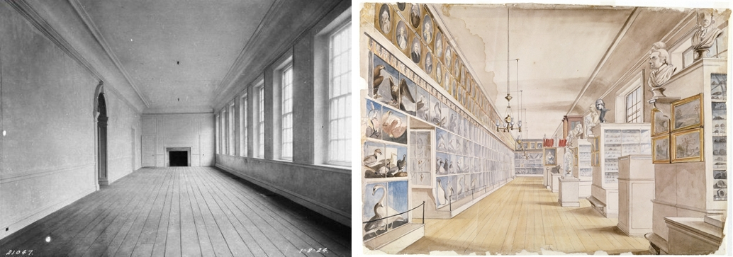 Left: The Long Room, Second Floor at Independence Hall, January 8, 1924. Warren A. McCullough, Photographer; right: Charles Wilson Peale and Titian Ramsay Peale,The Long Room, Interior of the Front Room in Peale's Museum, 1822, watercolor over graphite on pencil, 35.6 x 52.7 (Detroit Institute of Arts)