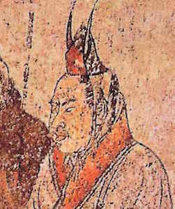 Illustration of Silla envoy wearing a conical cap with wing-shaped ornament, detail of a mural in the Tomb of Li Xian, 706 C.E., Qianling, Shaanxi province (China)