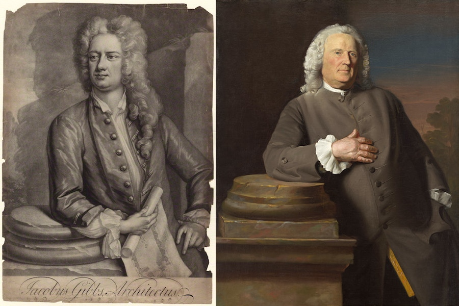 Left: James Gibbs, mezzotint by Peter Pelham, after a painting by Hans Hysing, (National Portrait Gallery); right: John Singleton Copley, Epes Sargent, c. 1760, oil on canvas, 126.6 x 101.7 cm (National Gallery of Art)