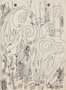 Uche Okeke, Owls, From the Oja Suite, 1962, ink on paper © The Estate of Uche Okeke (Newark Museum)
