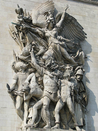 François Rude, La Marseillaise (The Departure of the Volunteers of 1792), 1833-6, limestone, c. 12.8 m high, Arc de Triomphe de l'Etoile, Paris (photo: Storm Crypt, CC BY-NC-ND 2.0)