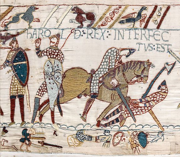 The death of King Harold at the Battle of Hastings (detail), Bayeux Tapestry, c. 1070, embroidered wool on linen, 20 inches high (Bayeux Museum)