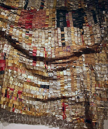 "Detail, El Anatsui, <em>Old Man's Cloth</em>, 2003, aluminum and copper wire, 16' x 17' 1"" / 487.7 x 520.7 cm (Harn Museum of Art, Gainesville, FL)"