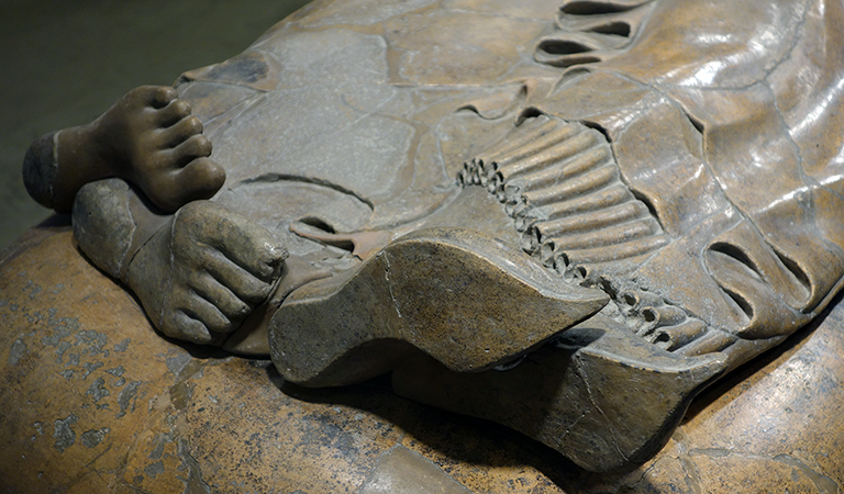 Feet and shoes (detail), Sarcophagus of the Spouses, c. 520 B.C.E., Etruscan, painted terracotta, 3 feet 9-1/2 inches x 6 feet 7 inches, found in the Banditaccia necropolis, Cerveteri (Museo Nazionale di Villa Giulia in Rome)