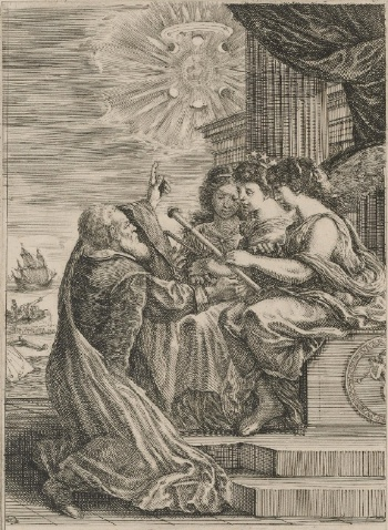 Frontispiece for the Opere di Galileo Galilei, 1656, etching, 17.8 x 24.9 (The Museum of Fine Arts, Houston). Galileo is shown kneeling before personifications of mathematics (holding a compass), astronomy (with the crown of stars) and optics.