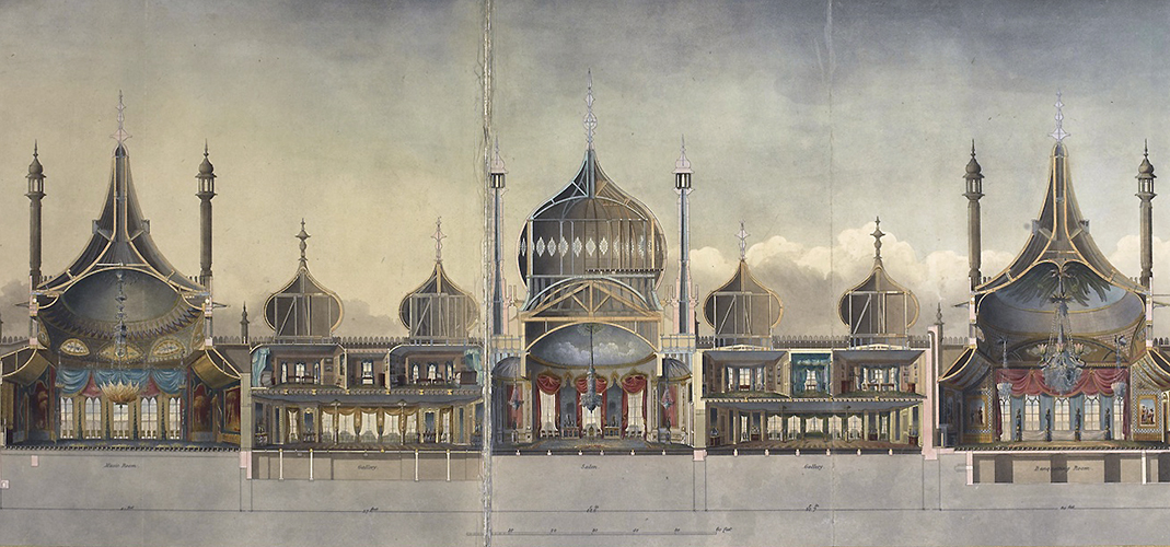 John Nash. The Royal Pavilion at Brighton (detail), 1827 © British Library Board