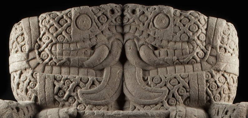 Snakes facing one another (detail), Coatlicue, c. 1500, Mexica (Aztec), found on the SE edge of the Plaza mayor/Zocalo in Mexico City, basalt, 257 cm high (National Museum of Anthropology, Mexico City)