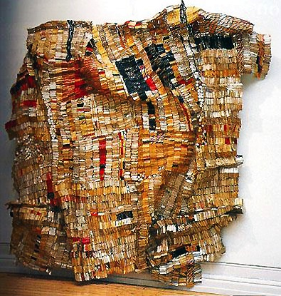 "El Anatsui, Old Man's Cloth, 2003, aluminum and copper wire, 16' x 17' 1"" / 487.7 x 520.7 cm (Harn Museum of Art, Gainesville, FL)"