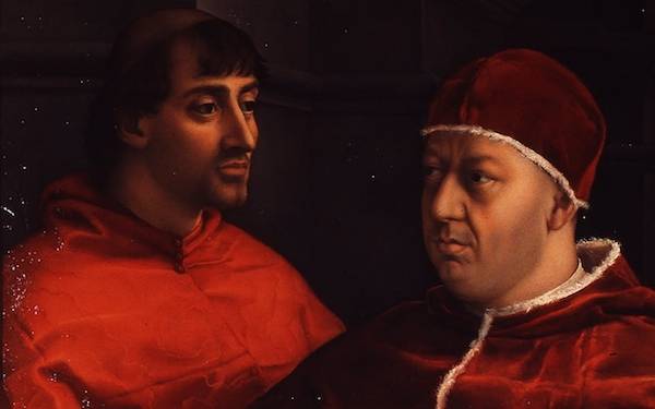 Detail, Raphael, Portrait of Pope Leo X with Cardinals Giulio de'Medici and Luigi de'Rossi, c. 1518 (Uffizi Gallery, Florence)