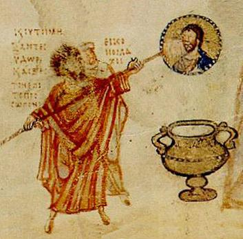 Khludov Psalter (detail), 9th century. The image represents the Iconoclast theologian, John the Grammarian, and an iconoclast bishop destroying an image of Christ. (State Historical Museum, Moscow)