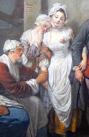 Bride with her mother and younger sister (detail), Jean-Baptiste Greuze, The Village Bride, 1761, oil on canvas, 36 x 46 1/2 inches / 91.4 x 118.1 cm (Musée du Louvre, Paris)