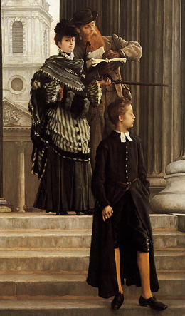 Detail, James Tissot, London Visitors, 1874, oil on canvas, 160 x 114 cm (Toledo Art Museum)