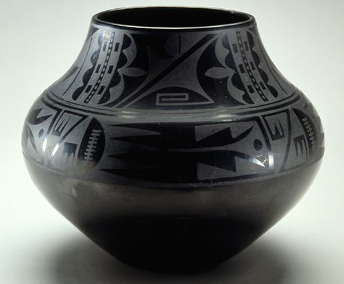"Maria Martinez, Black-on-black ceramic vessel, c. 1939, blackware ceramic, 11 1/8 x 13"", Tewa, Puebloan, San Ildefonso Pueblo, New Mexico (National Museum of Women in the Arts)"