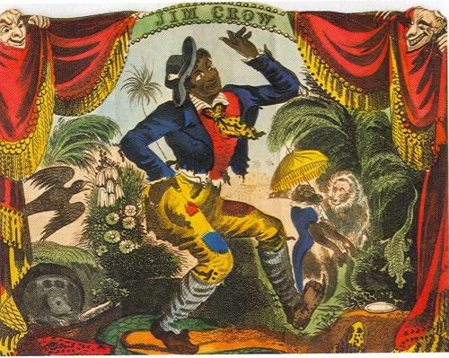 Painting of white man Thomas Rice with face painted black, in a manner suggesting he is dancing. He is surrounded by painted animals, including apes ...