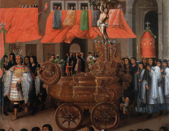 Cart and procession (detail), Parish of San Sebastián, in the Procession of Corpus Christi series, c. 1680, oil on canvas (Museo del Arzobispado, Cuzco, Peru)