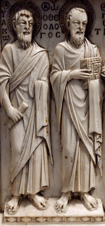 Lower register detail, Harbaville Triptych, ivory, traces of polychromy, 28.2 x 24.2 cm (Louvre)