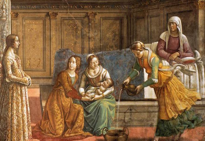 "Left to right: Giovanna Tornabuoni, midwives with baby, St Ann (detail), Domenico Ghirlandaio, Birth of the Virgin, c. 1485-90, fresco, 24' 4"" x 14' 9"" (Cappella Maggiore, Santa Maria Novella, Florence)"