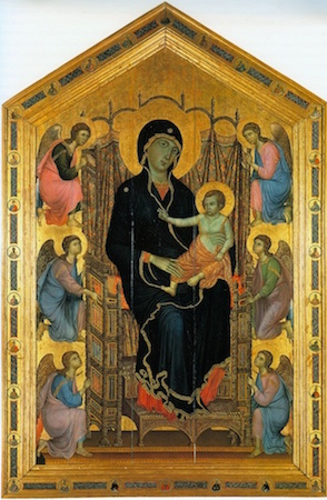 "Duccio di Buoninsegna, The Rucellai Madonna, 1285-86, tempera on panel, 177 x 114"" or 450 x 290 cm (Uffizi, Florence)"