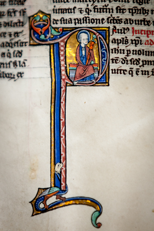 Historiated initial, Leiden, University Library, BPL MS 14 D, 13th century