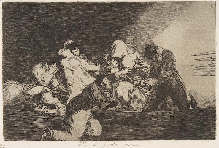 Goya, One can't look. (No se puede mirar.), plate 26 from 'The Disasters of War' (Los Desastres de la Guerra), 1810-20, etching, burnished lavish, drypoint and burin, plate: 14.5 x 21 cm (The Metropolitan Museum of Art)