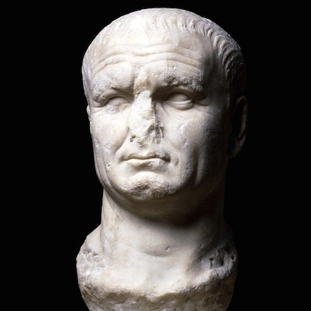 Head from a marble statue of Vespasian, 70-80 C.E., from Carthage, northern Africa (The British Museum)