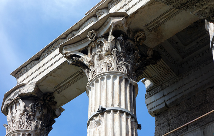View of the capitals of the Temple of Mars Ultor, Forum Augusti, c. 2 B.C.E.