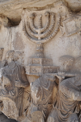 Detail from the Relief panel showing The Spoils of Jerusalem being brought into Rome, Arch of Titus, Rome, after 81 C.E., marble, 7 feet,10 inches high