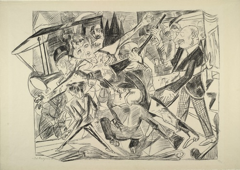 "Max Beckmann, ""The Martyrdom,"" plate 4 from Hell, 1919, lithograph, 54.7 x 75.2 cm (The Museum of Modern Art, NY)"