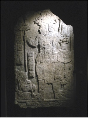 Portrait of King Tahn Te' K'inich in the garb of a warrior from Stela 6, Aguateca, Guatemala, ruled 770-802 C.E. (Museo Chileno del Arte Precolombino, Santiago, Chile)