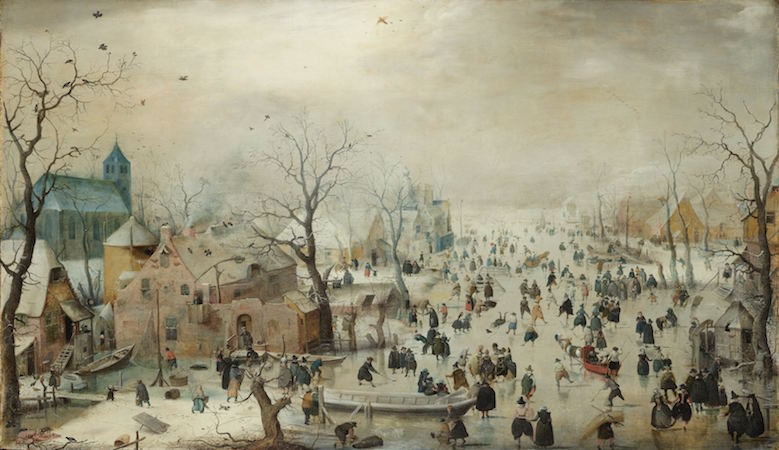 Hendrick Avercamp, Winter Landscape with Ice Skaters, 1608, oil on panel, 77.3 x 131.9 cm (Rijksmuseum, Amsterdam)