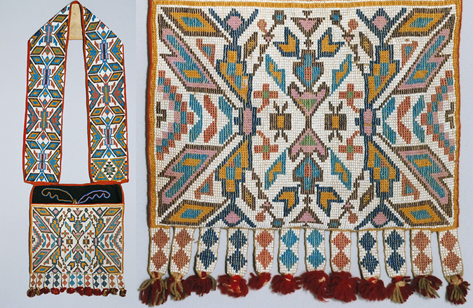 Bandolier Bag (detail at right), 1880s, Winnebago (?), wool and cotton trade cloth, wool yarn, glass, metal, 34 1/2 x 12 inches / 87.6 x 30.5 cm (The Metropolitan Museum of Art)